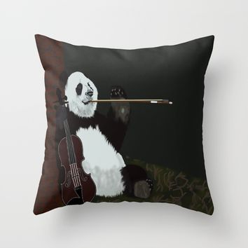 panda violinist Throw Pillow by pukis