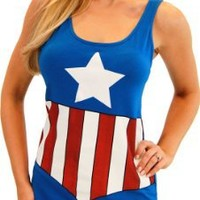 My Associates Store - Captain America Blue Juniors Costume Tunic Tank Dress