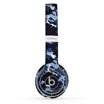The Blue Vector Camo Skin Set for the Beats by Dre Solo 2 Wireless Headphones
