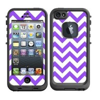 Skins Kit for Lifeproof iPhone 5 Case (skins/decals only) - Purple Chevron Pattern Print