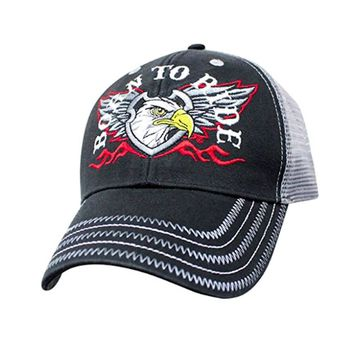 Mesh Back Biker Hat Motorcycle Trucker Cap Born to Ride, Kiss Asphalt Loud Proud