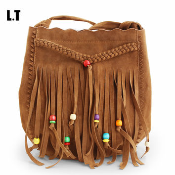 2016 Fringed Messenger Bag Brown Faux Suede Fringe Tassel Beaded Boho Chic Hippie Gypsy Tribal Bohemian Bucket Bag