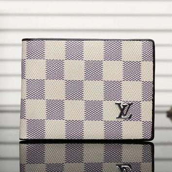 Louis Vuitton men's leather trend wallet F Beige lattice