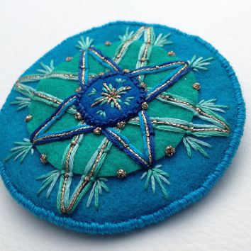 Compass Rose Brooch - Hand Embroidery on Wool Felt