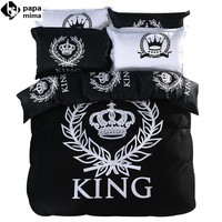 Luxury black and white crown king queen size bedding set 3/4pcs 100% cotton duvet cover set bedsheet pillowcase quilt cover