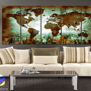 """XLARGE 30""""x70"""" 5Panels Art Canvas Print Original Wonders of the world Old Paper Map Green Brown Wall decor Home interior (framed 1.5"""" depth)"""
