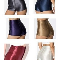 Multi Color Stretched High Waist Disco Hot Pants Shorts
