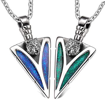 Arrowhead Wild Grizzly Bear Head Love Couples BFF Set Protection Amulets Sparkling Blue Green Necklaces