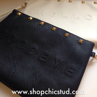 "Studded Jumbo ""HELLO"" + ""GOODBYE"" Text Clutch Bag - Carry All - Gold Studs"
