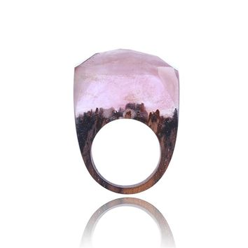 Fashion Mens Wood ring Natural Scenery Inlay Wood Resin Ring