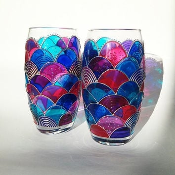 Hand Painted Glasses Fish scales Glasses Set of 2 Tumblers Water Glasses Everyday Glasses  Mermaid Design Drinking Glasses
