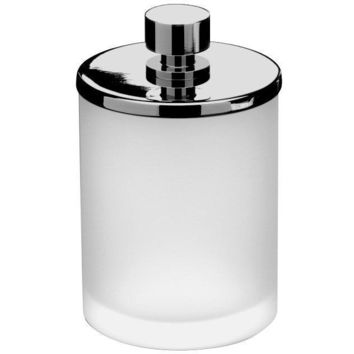 Addition Frosted Glass Round Cotton Ball Swab Holder, Q Tip Jar Canister, Brass