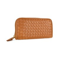 Fontanelli Designer Wallets Women's Brown Italian Woven Leather Concertina Zip Wallet