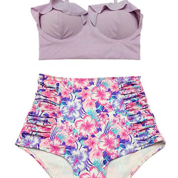 Lavender Midkini Top and Flora High-waist highwaisted Shorts Knickers Bottom Swimsuit Swimwear Bikini set sets Bathing suit Bathsuit S M L