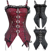 New Fashion Striped Gothic Punk Steampunk Overbust Corset Waist Training Corsets And Bustiers  Plus size XXL body Shaper
