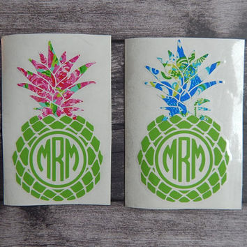 Pineapple Monogram Decal, Lilly Pulitzer Inspired Monograms, Preppy Monogram, car decal, yeti decal, laptop decal,vinyl decal,Christmas Gift