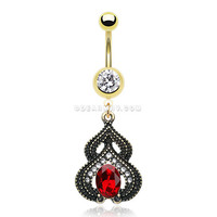 Golden Rustica Arabesque Belly Button Ring (Clear/Red)