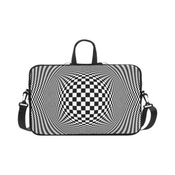 Personalized Laptop Shoulder Bag Optical Illusion Checkers Macbook Pro 17 Inch