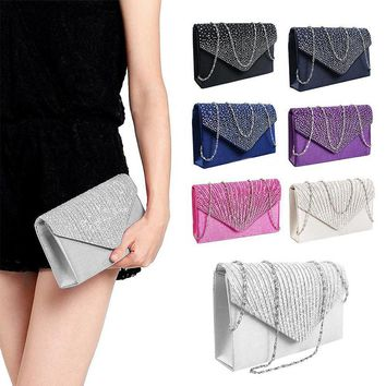 Women  Satin  Evening Bridal Bag Ladies Clutch Handbag Bridesmaid Wedding Purse Chain Party Banquet messenger bag
