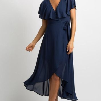 Navy Ruffled Touch Wrap Maxi Dress