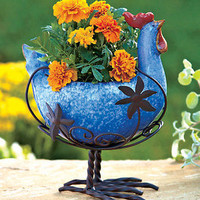 Ceramic & Metal Rooster Animal Planter Country Flower Pot Indoor/ Outdoor Decor