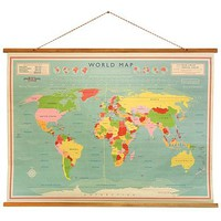 Vintage Style World Map School Chart