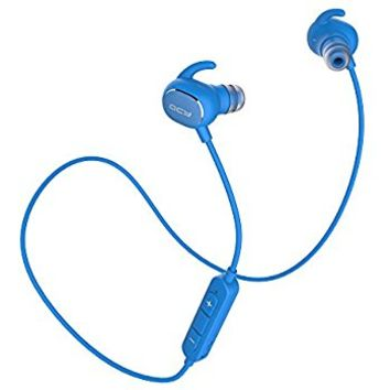 QCY Sweatproof Bluetooth Headphones, QY19 IPX4 apt-X Wireless V4.1 Sports Earbuds Waterproof Earphones for Running/Jogging/Gym with CVC6.0 Noise Cancelling Mic for iPhone(Blue)