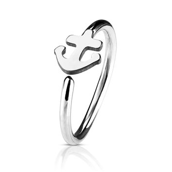 BodyJ4You 20G (8mm) Nose Hoop Surgical Steel Silvertone Anchor Body Jewelry Piercing Gauge Ring Unisex