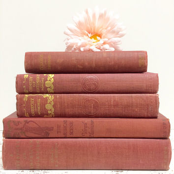Raspberry Pink Books, Pink Books for Wedding, Dusty Rose Books, Pink Book Collection, Faded Pink Book Decor, Rose Pink Bridal Shower