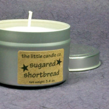 Soy Candle Tin // Sugared Shortbread // Highly Scented Container Candle // Mother's Day Gift // Wedding Favor // Primitive Home Decor