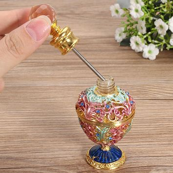 Vintage Crystal Metal Glass Perfume Bottle 5ml Flower Rattan Shaped Essential Oil Container Jar Organizer Home Decoration Gifts