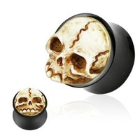 Pair (2) Organic Horn Carved Skull Ear Plugs Bone Gauges - 00G 10MM