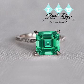Cultured Emerald Engagement Ring 1.7ct, 7mm Asscher Cut Cultured Emerald set in a 14k Rose Gold Diamond Setting