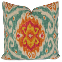 Iman Ikat Pillow Cover in Turquoise, Orange, Fuchsia, Yellow - Decorative Pillow - Throw Pillow - Accent Pillow