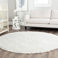 Safavieh California Shag Collection SG151-1010 White Round Area Rug, 4 feet in Diameter (4' Diameter)