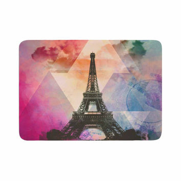 "alyZen Moonshadow ""Eiffel Tower (Deep Pink)"" Pink France Memory Foam Bath Mat"