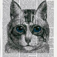 Book Print Blue Eye Cat  on Vintage Upcycle Book Page Print Art Print Dictionary Print Collage Print