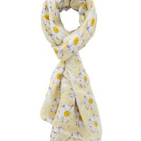 Yellow Combo Daisy Print Wrap Scarf by Charlotte Russe
