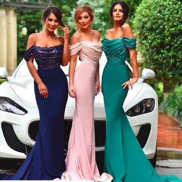 Pink Bridesmaid Dresses 2016 New Style Sequins Top Bridesmaid Gown Mermaid Formal Party Gowns Free Shipping