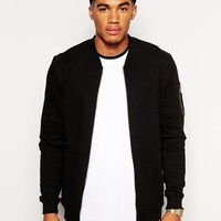 ASOS MA1 Bomber In Jersey With Pocket at asos.com
