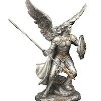 """A Veronese Archangel Raphael statue in a pewter style finish with gold highlights, 9""""."""