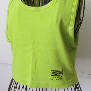 Lime Green Crop Top Cayman Islands Shirt Beach clothing Cruise clothing Light green tops souvenir tee shirts