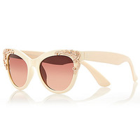 River Island Womens Cream filigree cat eye sunglasses
