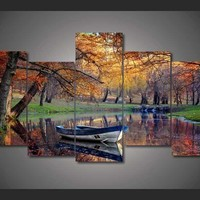Walk In The Fall 5-Piece Wall Art Canvas
