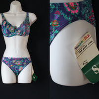 Vintage 1970's Swim Suit - Floral Wonderbra Bikini - NWT Dead Stock Bathing Suit Vtg Bathing Suit Swim Wear