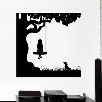 Wall Decal Girl Child Dog Friend Pet Swing Nature Vinyl Sticker Unique Gift (ed482)