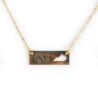 Monogrammed Golden Kentucky Name Plate Necklace | Accessories | Marley Lilly