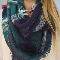 Plaid Infinity Scarf Green