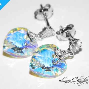 Wedding Flower Girl Gift Earrings Swarovski Aurora Borealis Heart Crystal Rhodium Sterling Silver Cubic Zirconia Studs FREE US Shipping
