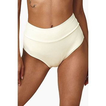 Ribbed High-Rise Belted Bikini Bottom - Cream Rib